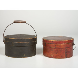 Two Painted Bail Handle Pantry Boxes