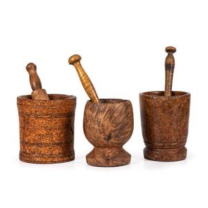 Three Burlwood Mortars and Pestles
