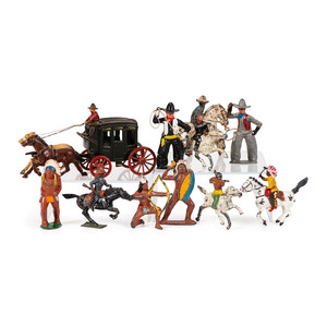 A Large Group of Cast Iron and Metal Western-Themed Toy Figurines