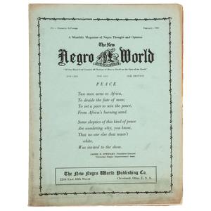 [UNIVERSAL NEGRO IMPROVEMENT ASSOCIATION]. The New Negro World. Vol. 2, Number 4.Cleveland, OH: The New Negro World Publishing Co., February 1943.