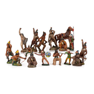 A Group of Western-Themed Wooden and Composite Toy Figurines
