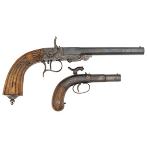 Continental Percussion Parlor Pistol and Allen & Wheelock Percussion Pistol (Lot of 2)