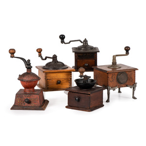 Five Wooden and Iron Coffee Mills