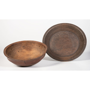 Two Turned Wood Bowls in Old Paint