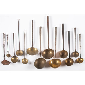 A Large  Group of Brass and Iron Cooking Utensils Many From Ohio and PA