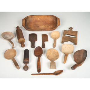 A Group of Figured Maple Wooden Utensils with a Handled Bowl