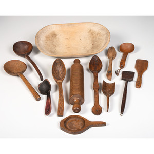 A Group of Wooden Utensils and a Painted Bowl