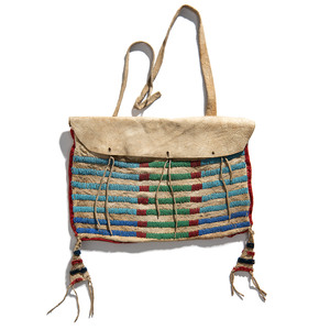 Crow or Nez Perce Beaded Buffalo Hide Work Bag