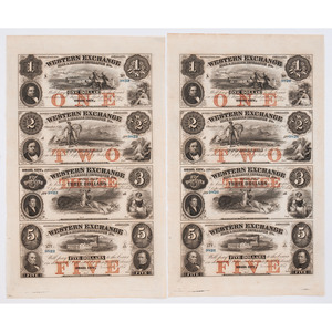 Western Exchange Fire and Marine Insurance Company, Two Uncut Sheets of Currency
