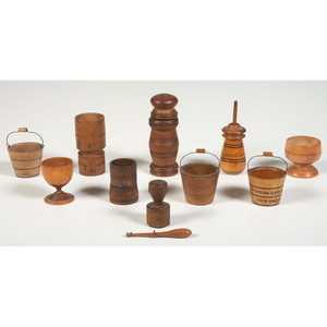 A Group of Turned Wood and Treenware
