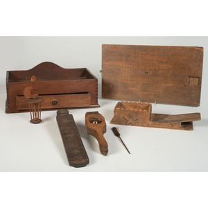 A Group of Wooden Kitchen and Sewing Tools