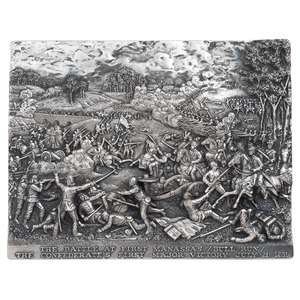 Henryk Winograd, The Battle at First Manassas / Bull Run Sterling Silver Repousse Panel