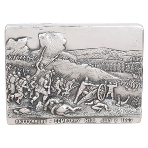 Henryk Winograd, Two Sterling Silver Repousse Panels with Gettysburg Content