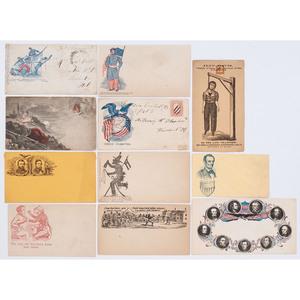 Civil War Patriotic Cover Collection, Incl. Abraham Lincoln and Jefferson Davis