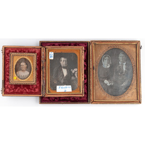 Trio of Daguerreotype Portraits of Men and Women by New Orleans Photographers Jacobs and Frobus