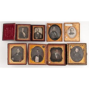 Daguerreotype Portraits of Men and Women by Identified Photographers, Including Germon, Whipple, Root, and More, Lot of 11