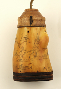 Fishing Themed Powder Horn & Bait Horn Set by Albert Emanuel, Sold to Benefit the Contemporary Longrifle Foundation