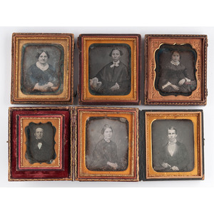 Daguerreotypes of Men and Women by Southern Photographers, Including Hughes Bros of Nashville, M. Carpenter of Louisville, and P.E. Gibbs of Lynchburg, Lot of 6