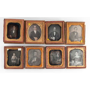 Daguerreotype Portraits of Sitters Posed with Interesting Props, Plus, Lot of 14