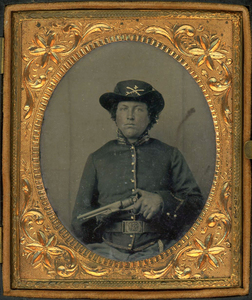 4th CAVALRY SOLDIER & COLT ARMY REVOLVER & ID