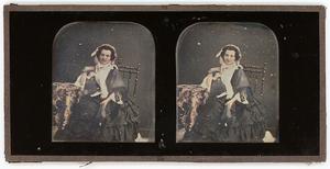 STEREO DAGUERREOTYPE: LOVELY LADY IN PINK BONNET