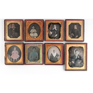 Daguerreotypes of Sitters with Cased Images and Books, Lot of 14