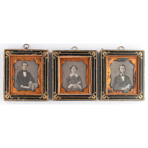 Trio of Daguerreotypes Featuring Subjects Holding Sheet Music Housed in Wall Frames