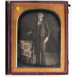 Assorted Daguerreotype Portraits Featuring Unique Decorative Objects and Studio Elements, Lot of 17