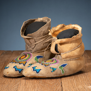 Apsaalooke [Crow] Beaded Hide Moccasins, with Painted Parfleche Soles