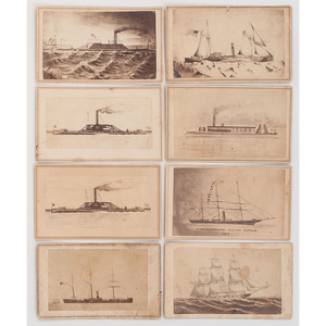 Civil War CDVs Featuring Paintings of Gunboats and Steamships, Published by New Orleans Studios