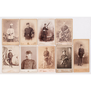 Cabinet Cards of Late Indian Wars - Spanish American War-Era Soldiers, Many Armed