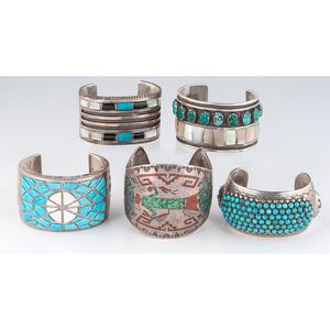 (Cincinnati) Navajo and Zuni Silver Cuff Bracelets with Inlay