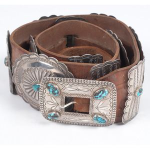 (Cincinnati) Navajo Silver and Turquoise Concha Belt