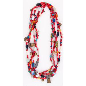 (Cincinnati) Patty Fawn (Cherokee / French, 20th century) Beaded Four Strand Necklace
