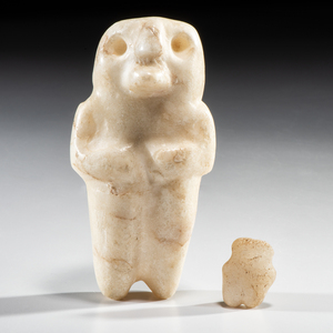 A Pair of Mississippian Human-Owl Anthropomorphic Effigy Figures, Largest 4-3/4 in.