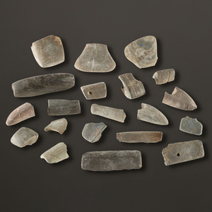 A Group of Slate Bannerstone Fragments, Largest 3-1/4 in.
