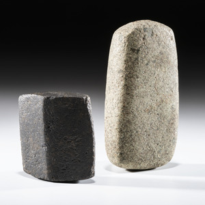A Pair of Bannerstone Blanks, Largest 4-1/2 in.