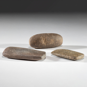 Three Hardstone Bar Weights, Largest 3-1/2 in.
