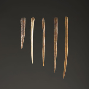 A Group of Five Bone Awls, Largest 5-1/2 in.