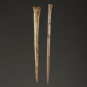 A Pair of Bone Pins / Awls, Largest 6-3/8 in.