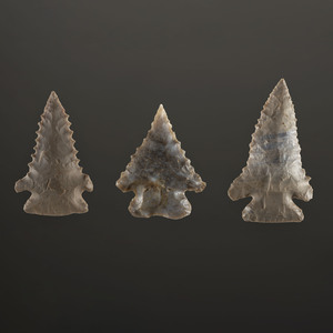 Three Swan's Landing Pine Tree Points, Longest 2-3/8 in.