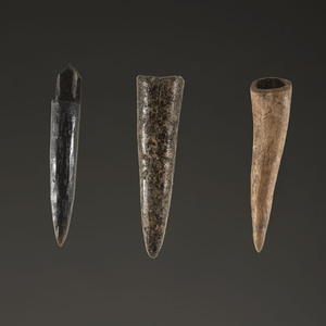 A Group of Three Bone Projectile Points, Largest 2 in.