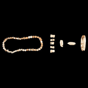 A Group of Shell Beads and Ornaments, Largest 2-1/2 in.