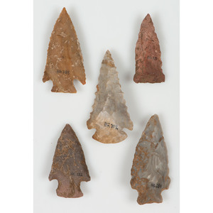 A Group of Five Archaic Points, Largest 2-1/4 in.