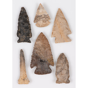 Six Archaic Points, Largest 2-1/8 in.