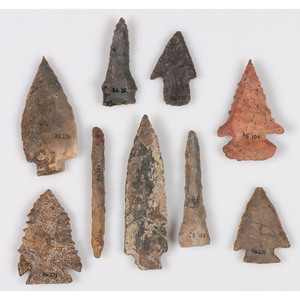 An Assortment of Archaic Flint Points, Largest 3 in.
