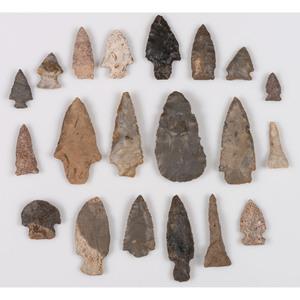 An Assortment of Archaic Points, Largest 2-3/4 in.