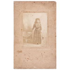 [AFRICAN AMERICANA] -- [EARLY PHOTOGRAPHY]. Photograph of an African American woman in mourning. N.p., [ca early 1900s].