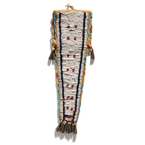 Ute Beaded Buffalo Hide Tab Bag