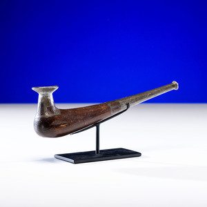 Siberian Eskimo Wood Pipe, with Pewter Inlay